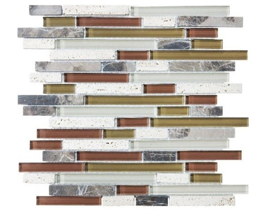 F16 Merlot Linear Glass Stone Blend Mosaics - F16 Merlot Linear Glass Stone Blend Mosaics