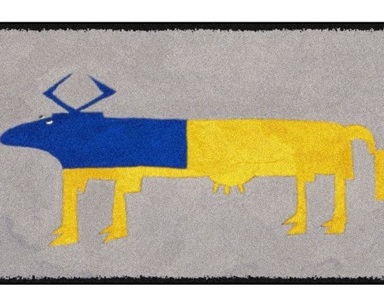 Home Infatuation - Blue and Yellow Cow Design Outdoor Rug, 3' X 4', Rubber Back - This indoor/outdoor area rug is derived from the imaginative series of original art work created by artist David Milliken. Elements from the paintings are extracted to create whimsical, humorous and abstract decorative solutions for both indoors and outside.