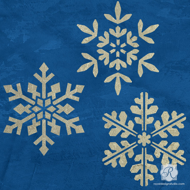 Winter snowflake christmas stencils traditional wall