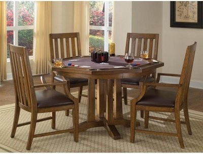 Home Styles Arts and Crafts 5 Piece Oak Dining/Game Table Set modern-dining-sets