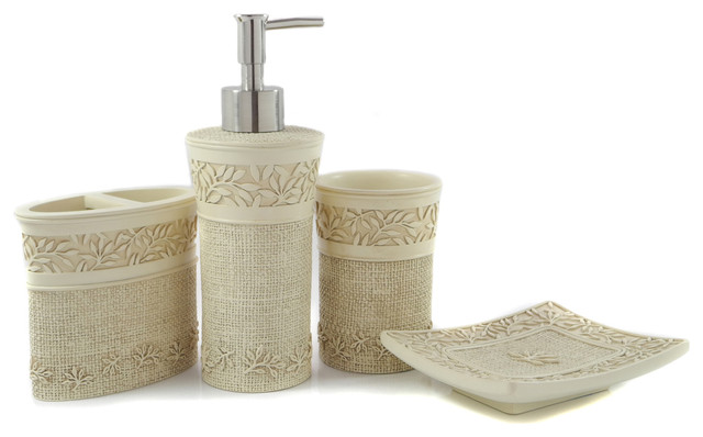 Dream bath classic beauty bath ensemble 4 piece bathroom for Cream bathroom accessories set