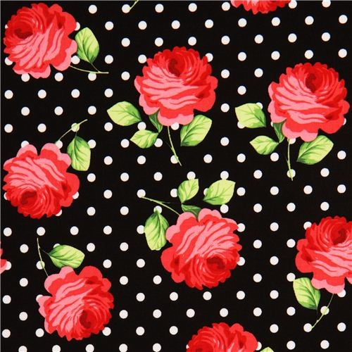 black Michael Miller fabric white polka dots and rose - Fabric - by ModeS Group Ltd