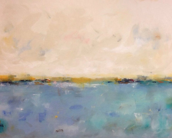 """Linda Donohue - Large Blue Abstract Seascape- Calm Coast 60 x 40 - Colorful large Seascape. This is an original acylic painting on gallery wrapped canvas. The sides are painted to match the front and it's ready to hang as it is or be put into a frame. It measures 60"""" x 40"""" x 1 3/8""""d and is inspired by the beautiful San Francisco Bay Area where I live."""