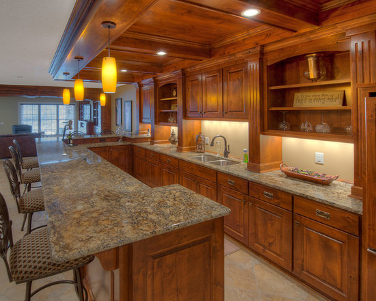 Custom Cabinets - Lower Level Bar Area with wood coffered ceiling