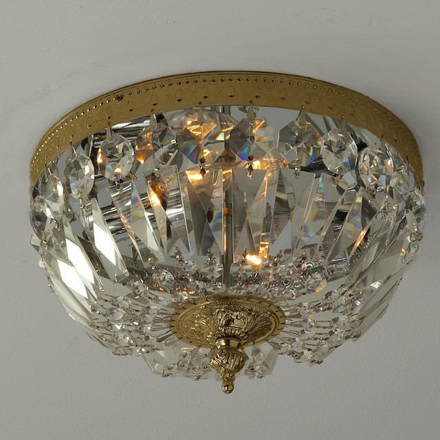 Antique Reproduction Cut Crystal Basket Flush Mount - Bathroom Vanity Lighting - by Shades of Light