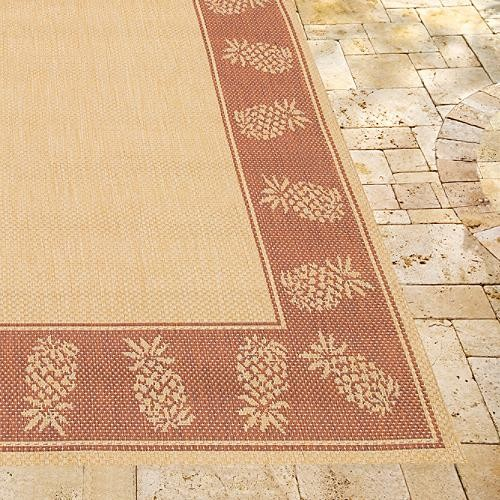 oasis retreat outdoor rug in brown terra cotta
