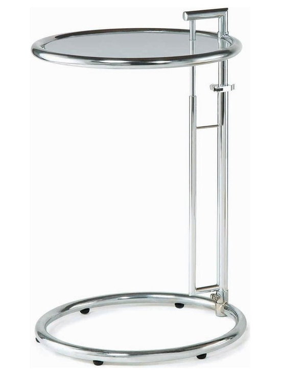 New Spec - Contemporary Metal & Glass End Table - Color/Finish: Clear/Silver. Material: Tempered Glass/ Metal. Adjustable Height. . 17.72 in. L x 25.29-42.13 in. H (12 lbs)
