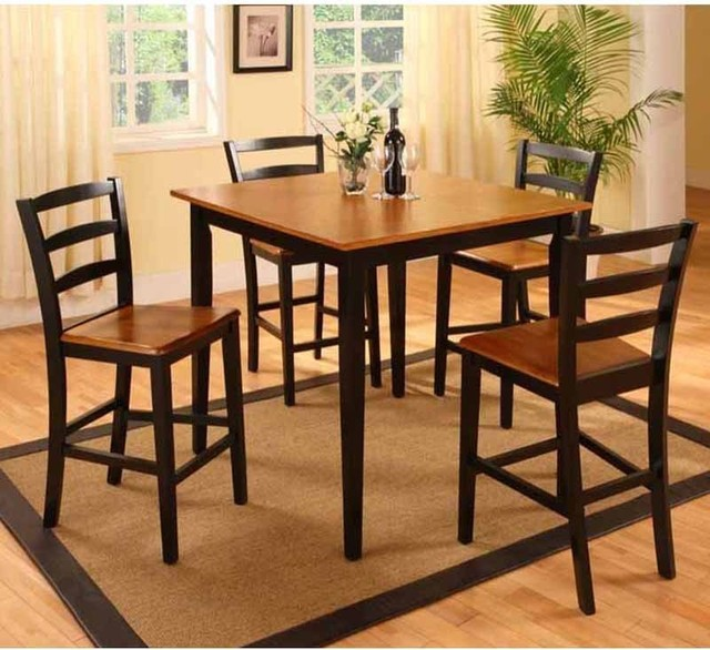 Panora 5 Piece Oak on Black Counter Height Set - 5908 contemporary-bar-tables