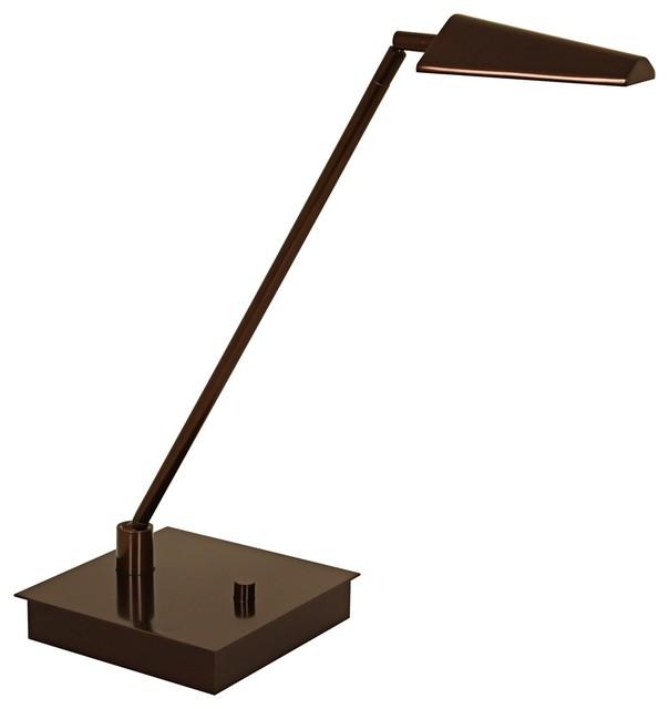 Mondoluz Ronin Straight Bronze Square Base LED Desk Lamp contemporary-table-lamps