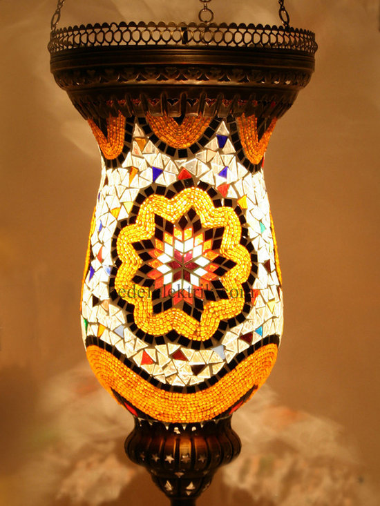 Turkish Style Mosaic Pendant Lamp 24 cm - Mosaic lamps are made of original colour of glasses. When the lamp is lit, the glasses cause colorful shades, which can suddenly change the ambiance of a room by its inspiring view. Noe of the glasses are painted nor applied a transaction. Each parts of the lamp are handmade.