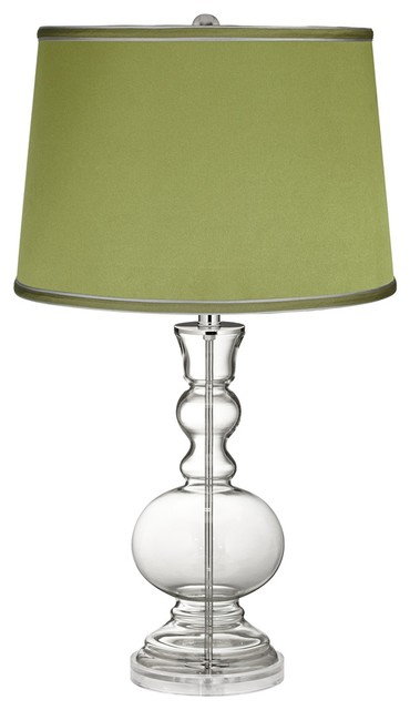 clear fillable satin olive green shade apothecary lamp. Black Bedroom Furniture Sets. Home Design Ideas