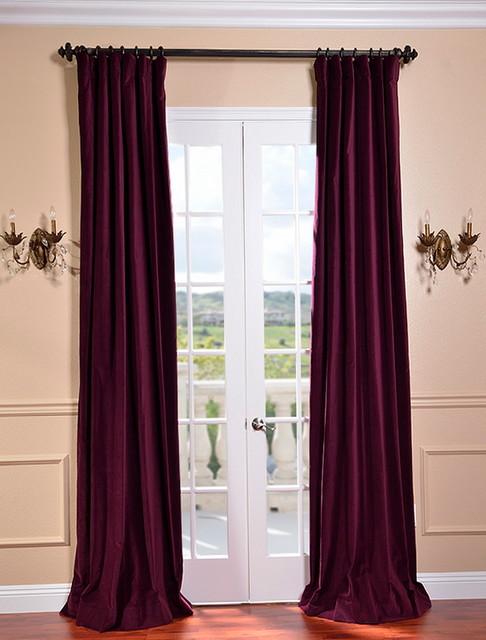 Majestic Plum Vintage Cotton Velvet Curtain Traditional