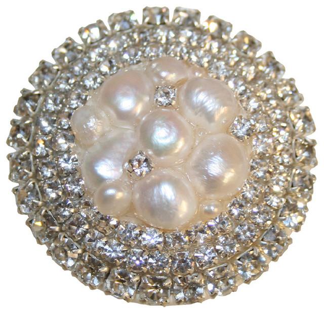 Ivory Freshwater Pearl Cluster & Rhinestone Drawer Knob - Modern - Cabinet And Drawer Knobs - by ...