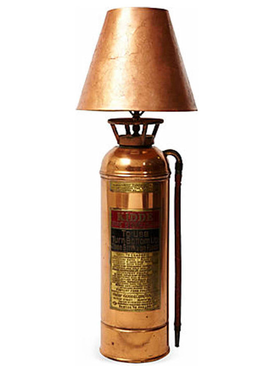 Fire Estinguisher Lamp - Table lamp made from a vintage fire extinguisher produced by Walter Kidde and Co. The extinguisher is restored to a brass polish finish and has a matching shade