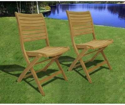 Amazonia Dublin Teak Folding Chairs - Set of 2 traditional-patio-furniture-and-outdoor-furniture