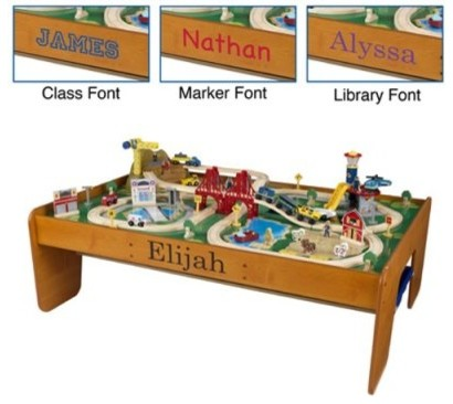 KidKraft Personalized Ride Around Town Train Table & Set modern-kids-toys-and-games