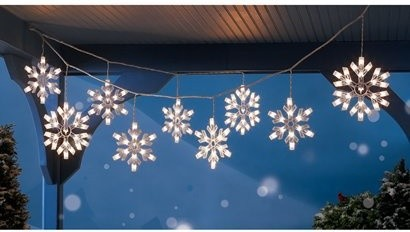 9 Clear Snowflake Icicle String Lights Modern Holiday