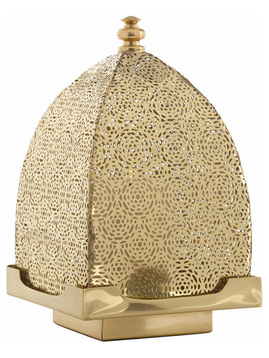 Arteriors Home - Sullivan Lantern - Sullivan is a Moroccan inspired statement lantern of Polished Brass with perforated filigree removable top. 6.5 inch width x 10.5 inch height x 6.5 inch depth.