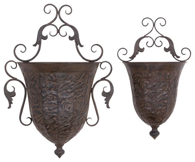 Metal Wall Planter - Set of 2 - Modern - Indoor Pots And Planters