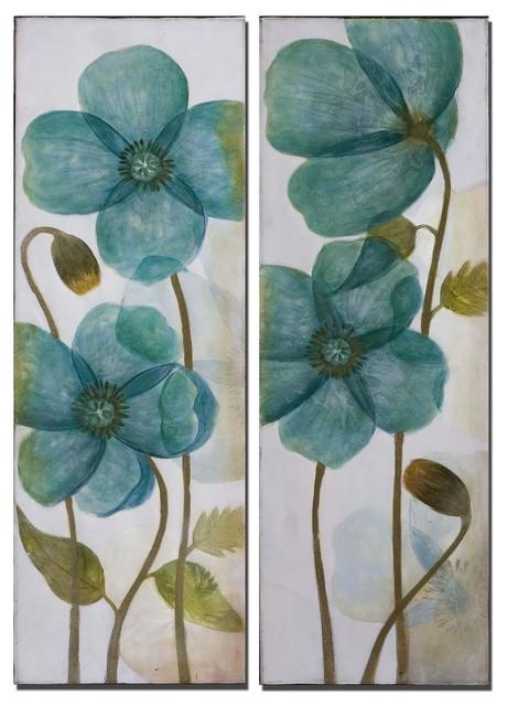 Uttermost Set of 2 Aqua Shock Floral Art artwork
