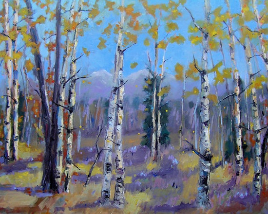 Amongst The Trees - Mike Brouse paints colorful Colorado - Award winning oil painting 30 x 48 trees, nature, aspen trees, forest, woods, paintings on canvas, contemporary oil paintings