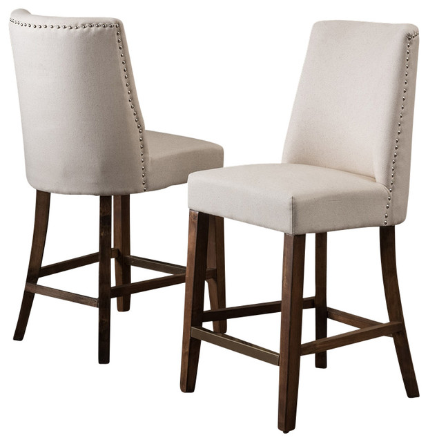 Counter Height Nailhead Chairs : Nailhead Accent Linen Beige Fabric Stools (Set of 2) , Counter Height ...