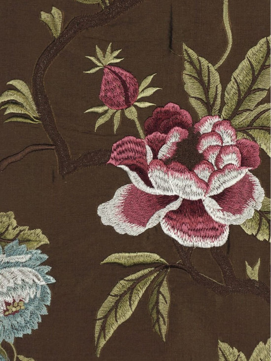 Brown Embroidered Camellias Dupioni Silk Custom Made Curtains - With the unfussy eyelet heading, when you hang on this embroidered silk curtain, it looks like the blossoming flowers outdoors are climbing onto your window with a big, big smile.