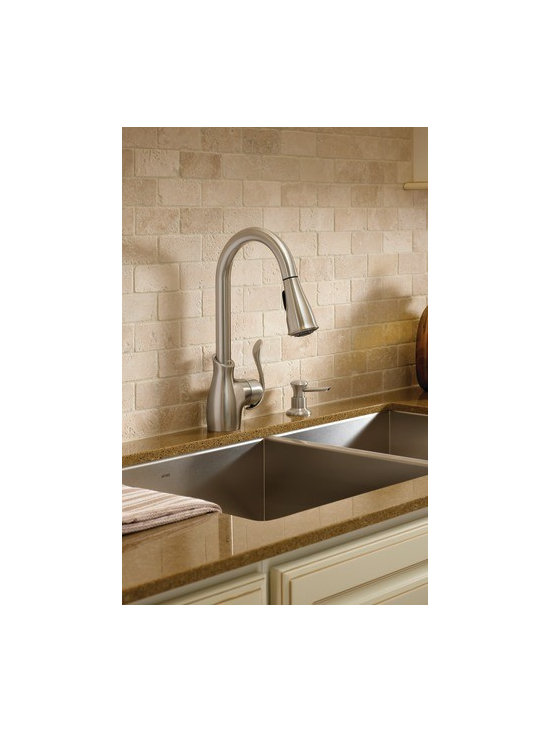 Moen Boutique Spot resist stainless one-handle high arc pulldown kitchen faucet - The Boutique® line features a Transitional, high–arc design.