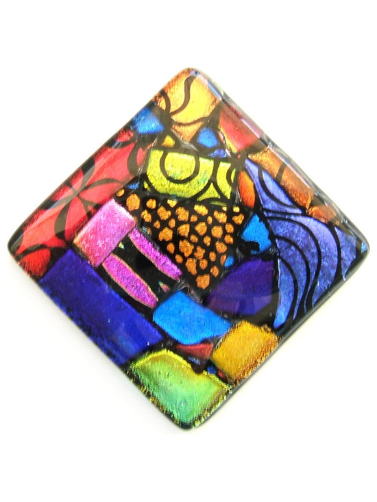Glass Accent Tile in Vibrant Mosaic Design - Art glass accent tile in stunning vibrant jeweltones by Uneek Glass Fusions.  Add a little color with this one of a kind mosaic glass tile accent.