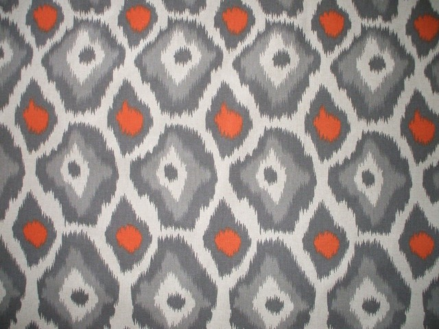 72 Shower Curtain Lined Adrian Orange Grey Beige Geometric Contempo