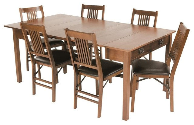 Mission Style Expanding Dining Table in Warm transitional-dining-tables