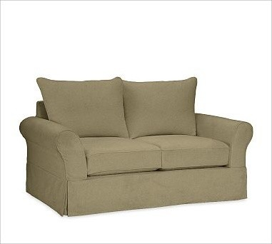 PB Comfort Slipcovered Love Seat, Knife-Edge Cushions, Down-Blend Wrap Cushions, traditional-pillows
