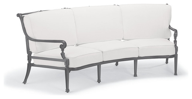 Carlisle Curved Outdoor Sofa With Cushions In Gray Finish