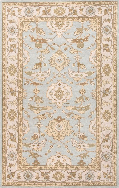 Hand-Tufted Durable Wool Blue/Ivory Area Rug (8 x 10) asian-rugs