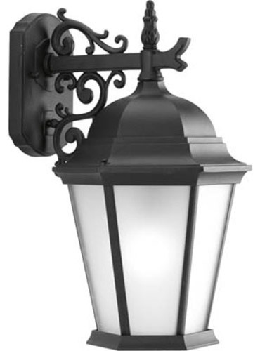 Welbourne Textured Black One-Light Outdoor Wall Lantern with Etched Glass Panels modern-outdoor-lighting