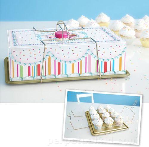 Vintage Cupcake Carrier Tin modern