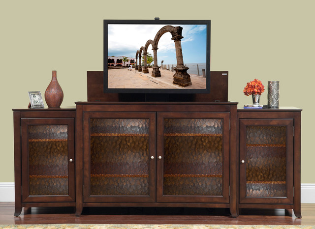 """Carmel TV Lift Cabinet With Side Cabinets For Flat Screen TV's Up To 55"""" contemporary-home-electronics"""