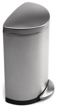 Semi-Round Step Trash Can, Fingerprint-Proof Brushed Stainless Steel contemporary-kitchen-trash-cans
