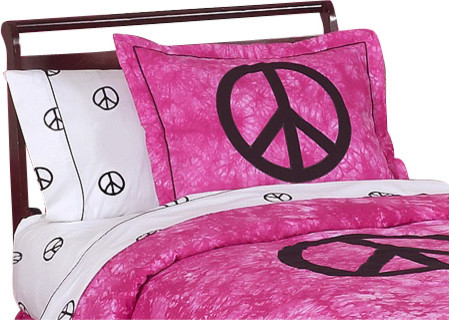 Pink Peace Pillow Sham contemporary-bed-pillows