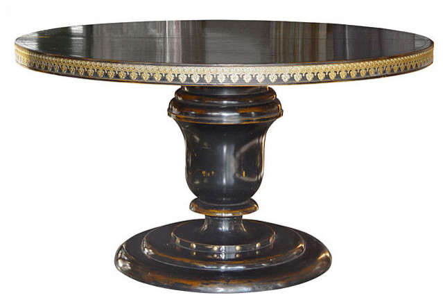 Round wood table with two leaves with antiqued black for Black round kitchen table with leaf