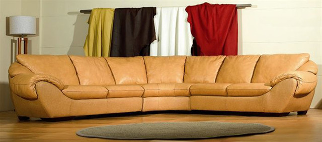 High End Curved Sectional Sofa In Leather Modern