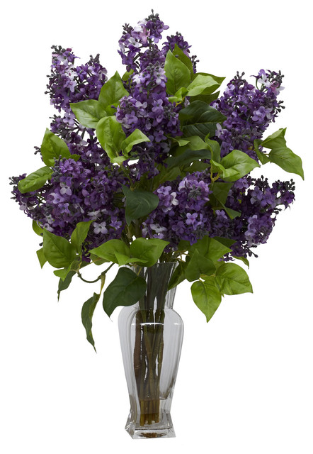 Nearly Natural Lilac Silk Flower Arrangement in Purple traditional-artificial-flowers-plants-and-trees