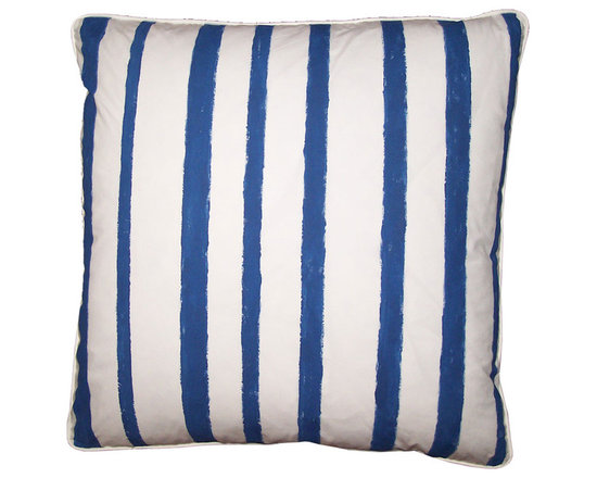 Stripe Pillow ~ Blue and White Covers - High-end Custom and Ready made pillows available on-line. Classic Blue and White Decorative Pillow Covers in a Hand Painted Stripe. See Coordinating Pillows for a Study in Print and Pattern Mixing.  Couture Custom Workroom Services Available. Artisanaworks