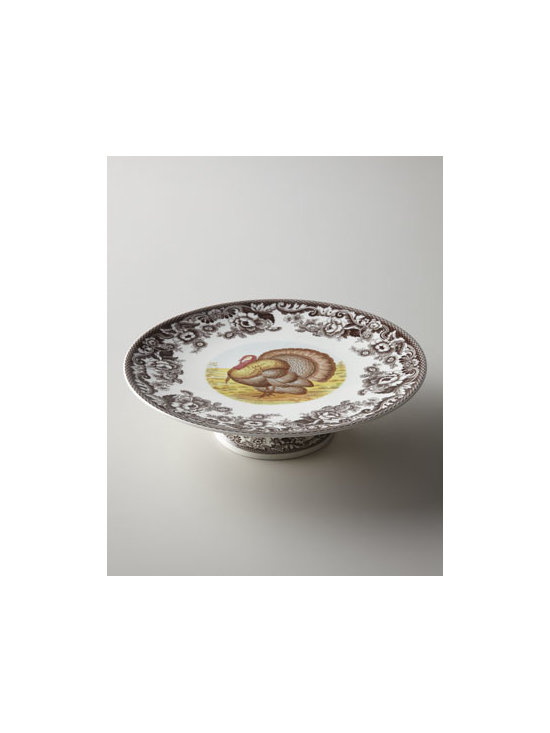 "Spode - Spode ""Turkey"" Footed Cake Stand - Complete your ""Woodlands"" dinnerware service with a cake stand embellished with a turkey motif framed by a border inspired by the British flower designs in the early 19th century. Porcelain. Microwave and dishwasher safe. 10.5""Dia. Imported."
