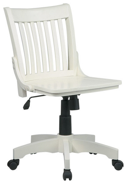 Deluxe Wood Bankers White Office Chair traditional-task-chairs