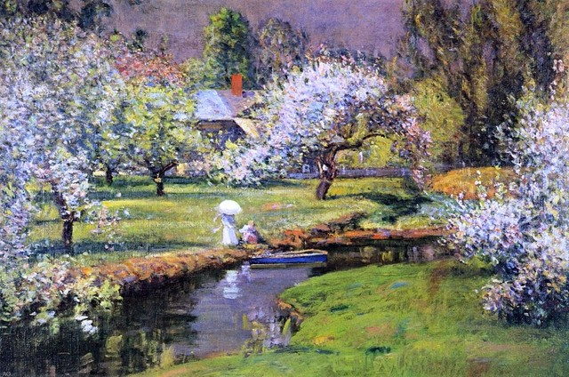 """Theodore Wendel Lady with Parasol by Stream - 16"""" x 24"""" Premium Archival Print traditional-artwork"""