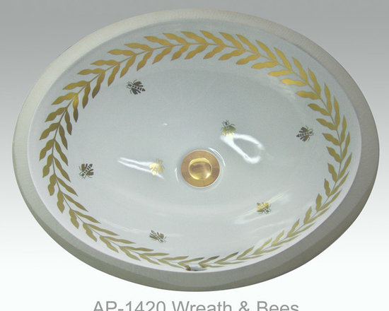 "Hand Painted Undermounts by Atlantis Porcelain - ""WREATH & BEES"" Shown on AP-1420 white Monaco Medium undermount 17-1/4""x14-1/4""available on burnished gold or platinum and bright gold or platinum on any of our sinks."