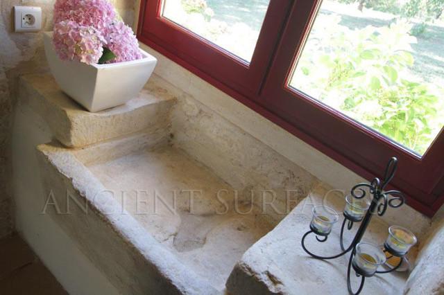 Antique Farmhouse Limestone Sink with Stone Countertops Mediterranean Kit