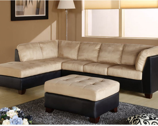Charleston Two-Tone Cream Sectional - Available in cream with dark leatherette upholstered frame