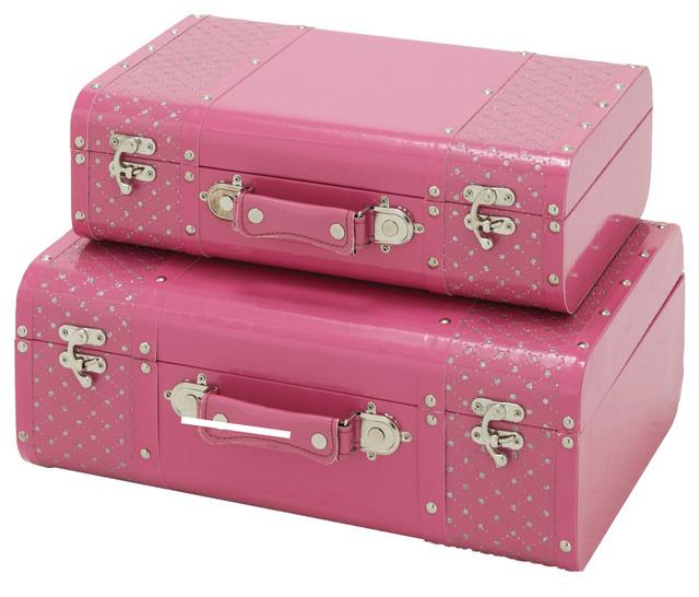 Jewel studded 2 piece decorative trunk case set pink - Decorative trunks and boxes ...